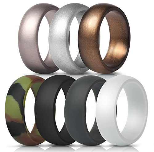 Lightweight Ring White - ThunderFit Silicone Rings, 7 Pack Wedding Bands for Men - 8.7 mm Wide (Camo, White, Dark Gray, Black, Brown, Dark Silver, Silver, 11.5-12 (21.3mm))