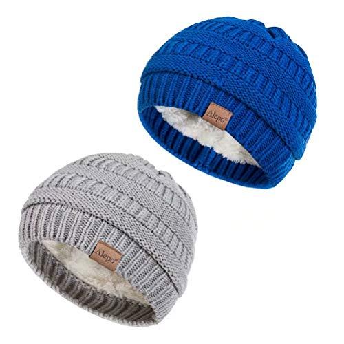 Alepo Fleece Lined Baby Beanie Hat, Infant Newborn Toddler Kids Winter Warm Knit Cap for Boys Girls (Light Gray&Blue)