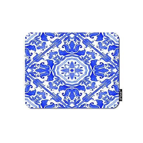 - oFloral Geometric Mouse Pad Gaming Mouse Pad Portuguese Azulejo Tiles Blue Flowers Delft Majolica Decorative Mousepad Rubber Base Home Decor for Computers Laptop Office 7.9X9.5 Inch