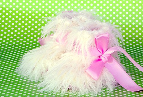 (Custom Made Furry Crochet Booties for Baby Girls White & Pink)