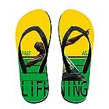 SHUIZHUYU Unisex Usain Bolt Fast As Lifhtning Flip Flops