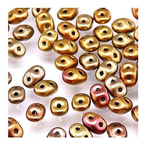 20gr Czech Two Hole Seed Beads SuperDuo 2,5x5 mm CRYSTAL SILKY GOLD IRIS MAT