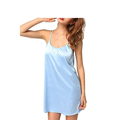 af761a8ee0 Women s Dress Short Dress Tank Top Nightgown Chic Summer Satin Pajamas  Sleeveless Classic Sling Pajama Chemise Nightwear Clothes  Amazon.co.uk   Clothing
