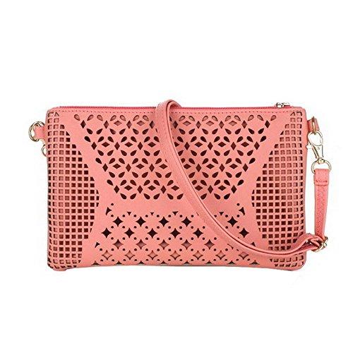 (Jiaruo Vintage Girls Hollow Out Sling Leather Crossbody Bag Handbag Purse (pink))