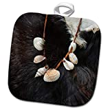 3dRose Alexis Photography - Objects Misc. - Image of sea Shells on a String and an Animal Fur. Stone Age Decor - 8x8 Potholder (PHL_295022_1)