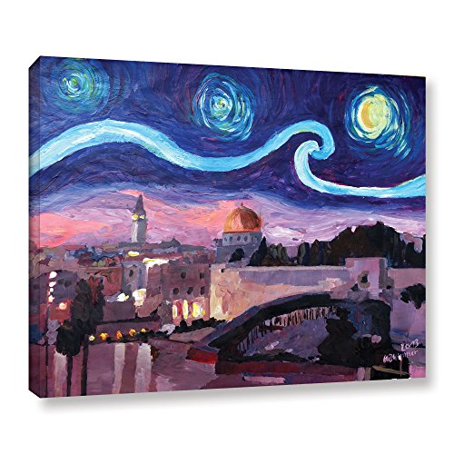 Marcus/Martina Bleichner ''Starry Night In Jerusalem Over Wailing Wall'' Gallery Wrapped Canvas, 18X24