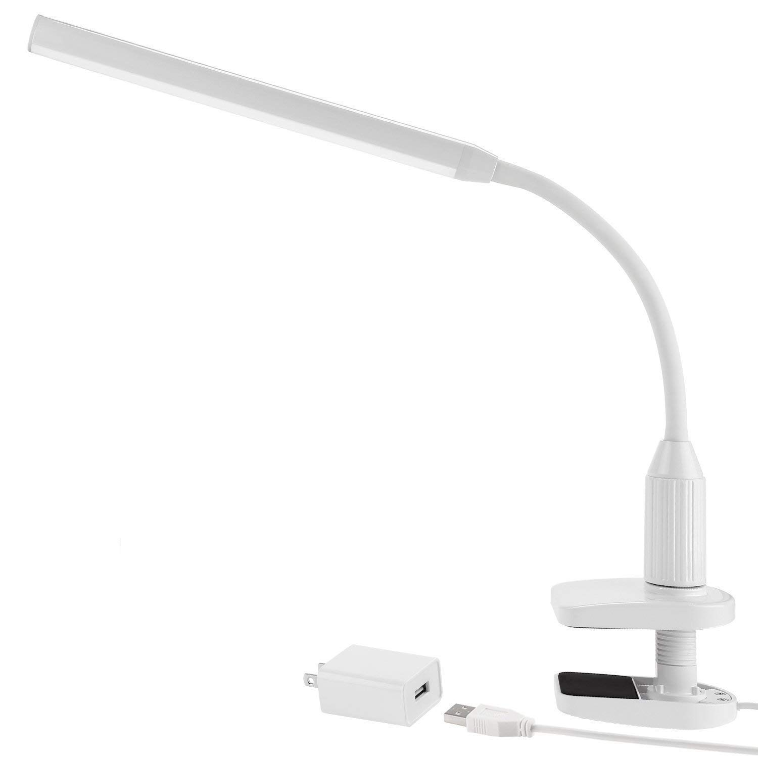 Torchstar 24 LEDs Dimmable Flexible Gooseneck Clamp Desk Lamp Eye-Care Touch Sensitive 5W Light, Memory Function, USB Charger + Power Adapter, 50000 hours Lifespan & 2 Years Warranty (White) ODCDEK-SD40WHT