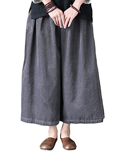 Aeneontrue Women's Casual Corduroy Wide Leg Pants Palazzo Pants Culottes With Pockets