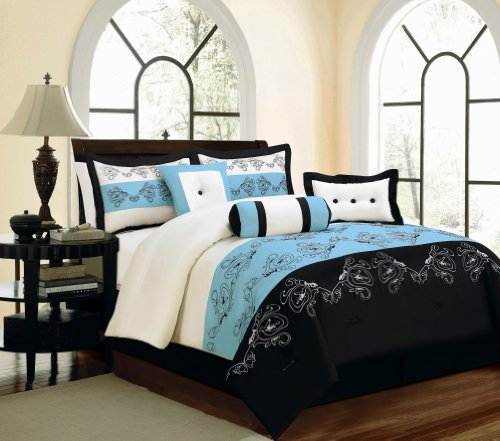 Fancy Collection King Size Luxury 7pc Comforter Set Embroidery Floral Bed in a Bag Blue Black Off White New