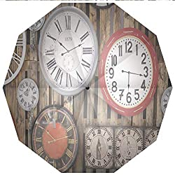 10 Ribs Travel UmbrellaUV Protection Auto Open Close Clock Decor,Antique Clocks on the Wall Instruments of Time Vintage Decorative Windproof - Waterproof - Men - Women -Lightweight- 45 inches