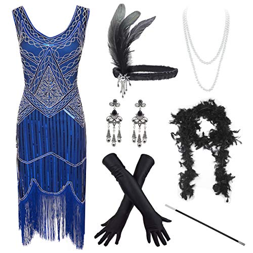 Women's Vintage 1920s Sequin Beaded Tassels Hem Flapper Dress w/Accessories Set (X-Large, Blue)]()