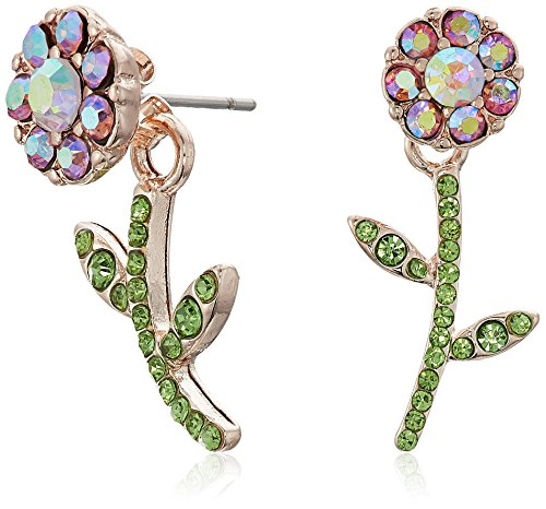 Betsey Johnson Flower Front Back Earrings-Jackets, Pink, One Size