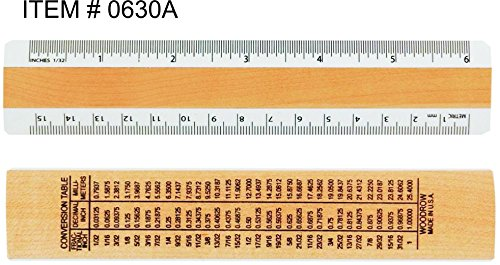 Woodrow 6 inches  & Metric 2 Bevel Wood Ruler