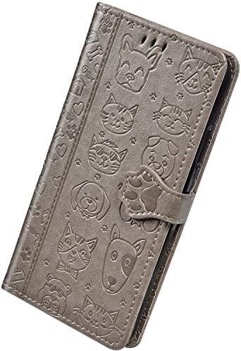 Herbests Kompatibel mit Samsung Galaxy A10 Hülle Ledertasche 3D Katze Hund Muster Schutzhülle Brieftasche Klapphülle Klappbar Wallet Bookstyle Leder Handyhülle mit Magnet Kartenfach,Grau