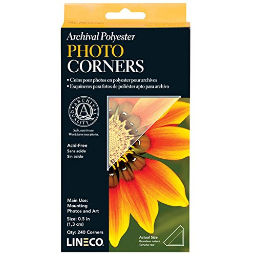Lineco Archival Polyester Mounting Corners, Pressure Sensitive Acid-Free Acrylic Self-Adhesive Backing, 0.5 Inch, Mounting Artwork Photographs Certificates DIY Displaying Pictures (Pack of 240) Clear from Lineco