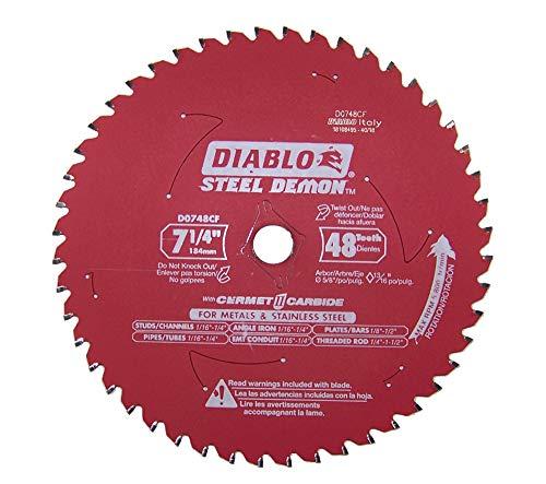- Diablo D0748CF STEEL DEMON 7 1/4 inch 48 Teeth Metal and Stainless Steel cutting Saw Blade CERMET II Carbide Up to 5X Longer Life