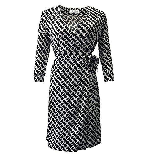 - Women's V Neck 3/4 Wrap Dress (6/L, XV117)