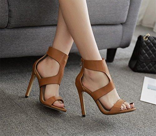 Toe De Tendance Marron New Open color Chaussures Femmes Élégant Travail 37 Été Sexy Parti Hauts Talons Sandales Taille Sauvages Style Printemps Marron 2018 8qxOPwO
