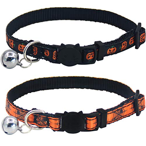 HOMIMP Breakaway Cat Collars with Bell Halloween Style 2 Pack Adjustable -