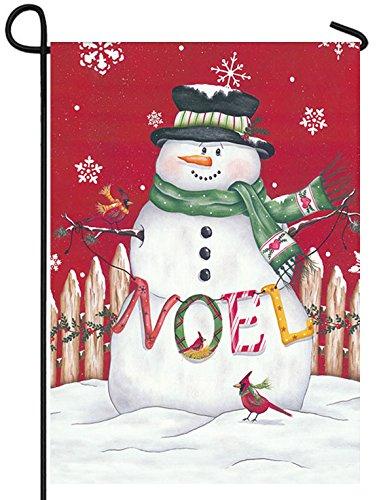 Noel Snowman - Noel Snowman Christmas Garden Flag Snow Bird Cardinal Holiday Holly 12 x 18 inch