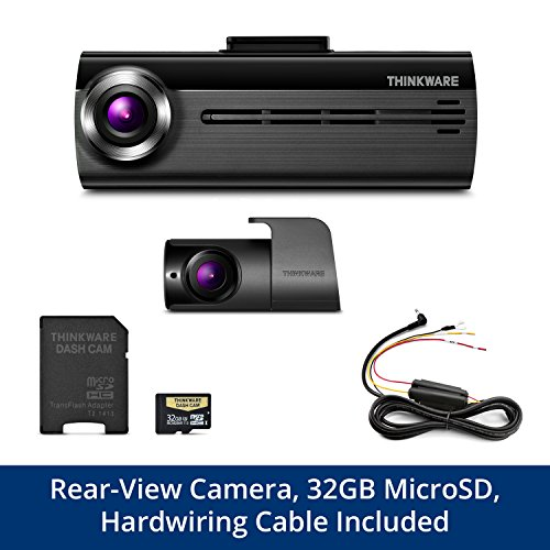 THINKWARE FA200 Dash Cam Bundle with Front & Rear Cam, Hardwiring Cable, 32GB MicroSD Card Included, Built-in WiFi, Time Lapse