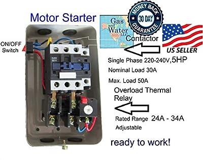 New Magnetic Motor Starter Control for electric motor compressor 5hp 1ph 230V 34 amp