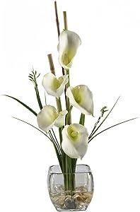 "Nearly Natural 1118-CR Calla Lilly Liquid Illusion Silk Flower Arrangement, Cream,6.75"" x 6.75"" x 22.5"""