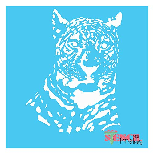 "Gazing African Cheetah Stencil-L (15.5"" x 20"")| Standard Brilliant Blue Color Material"