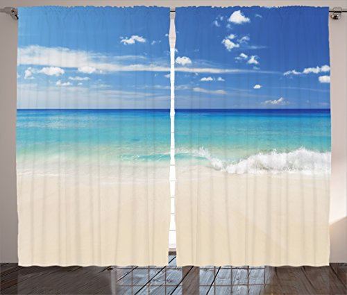 Ocean Decor Curtains 2 Panel Set by Ambesonne, Tropical Haven Style Sandy Shore and Sea with Waves Escape to Paradise Theme, Living Room Bedroom Decor, 108 W X 90 L Inches, Cream Turquoise White (Tropical Style Living Room)
