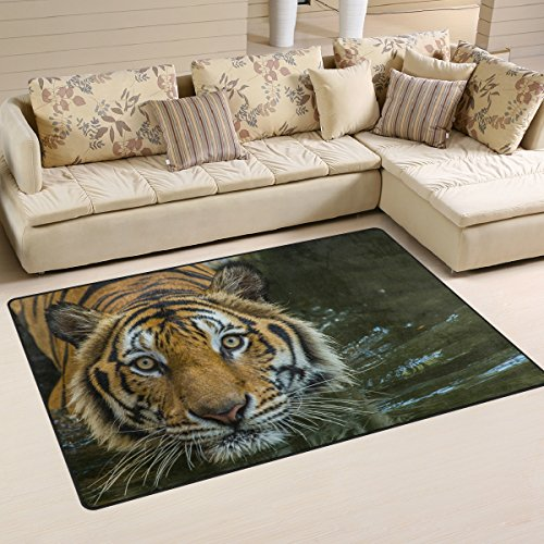 Yochoice Non-slip Area Rugs Home Decor, Hipster Bengal Tiger Swimming Show Floor Mat Living Room Bedroom Carpets Doormats 60 x 39 inches (Rug Mat Bengals)