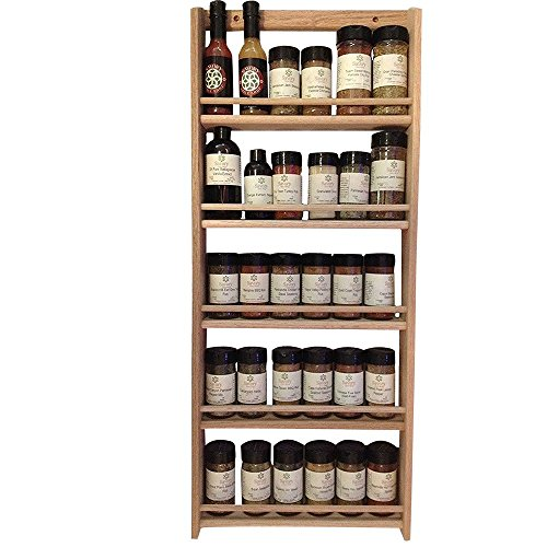 EmejiaSales Oak Spice Rack Wall Mount Organizer 5 Tier, Solid Oak Wood With Natural Finish, Seasoning Storage for Pantry and Kitchen - Holds 30 Herb Jars (Cabinet Oak Mount Wall)