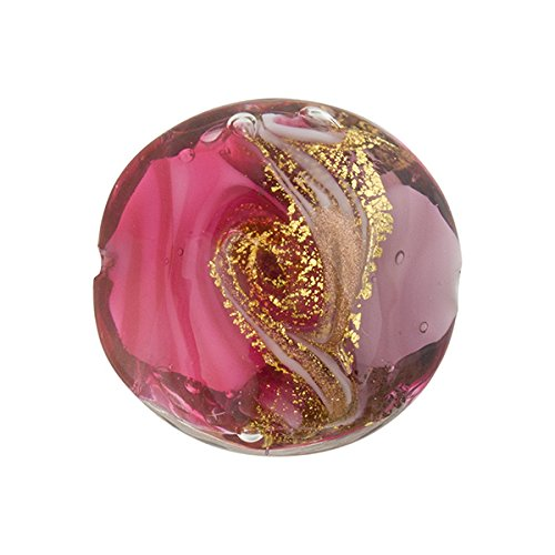 Pink and Purplewith Aventurina and 24kt Gold Foil Mare Disc 20mm Murano Glass Bead Handmade Lampwork