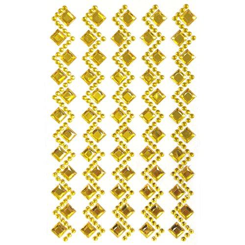 Allydrew Diamond and Round Acrylic Self Adhesive Crystal Gem Stickers, Gold