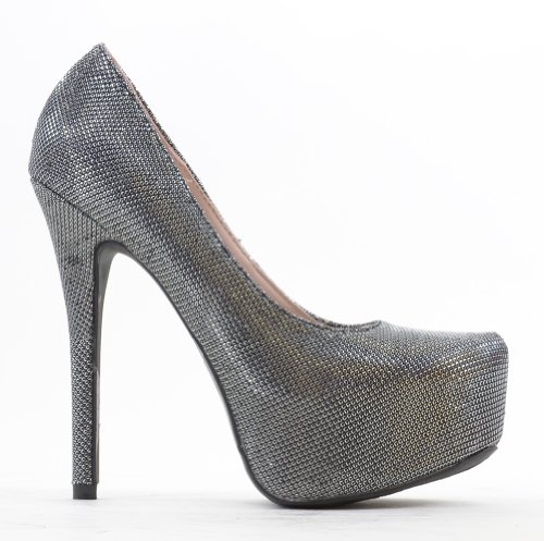 Black Sparkle Almond Toe Platform Pumps Nelson-16 cYsUH9N6R