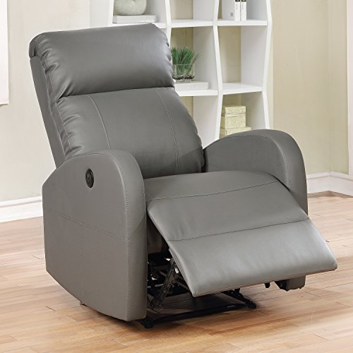 Premium Italian Leather Recliner - AC Pacific Sean Modern Leather Infused Small Power Reading Recliner, Grey