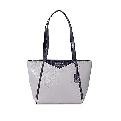 Michael Kors Pebbled Leather Tote- Grey Black  Handbags  Amazon.com 60a4660af2d67