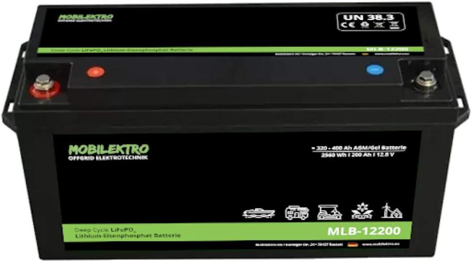 Mobilektro Lifepo4 200ah 12v 2560wh Lithium Versorgungsbatterie Mit Bms Eq 320ah 400ah Agm Oder Gel Aufbaubatterie Für Wohnmobil Boot Camping Oder Solaranlage Auto
