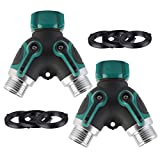 Vankcp 2 Pack Garden Hose Splitter, 2 Way Y Hose Faucet Connector with Comfortable Smooth Rubberized Grip and 3 Washers