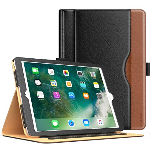 Price comparison product image MoKo Case for iPad 2017 9.7 Inch - Slim Folding Stand Folio Cover Case for Apple New iPad 9.7 Inch (2017 Release,  5th Gen) with Document Card Slots,  Multiple Viewing angles,  BLACK & BROWN