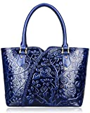 Pijushi Designer Floral Rose Ladies Handmade Leather Tote Shoulder Bags Satchel Handbags 22328 (one size, Blue)