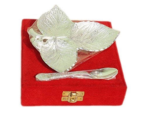 Shaped Silver Plated (STREET CRAFT Bowl Platter Tray with Spoon Silver Plated Brass Indian Royal Engraving Design with Decorative Gifting Box (Leaf Shaped Bowl 7