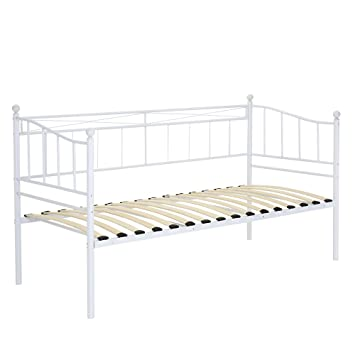 WHITE 2FT6 Metal Daybed Without Underbed Single Guest Bed Frame Trundle For Adult Kids Bedroom