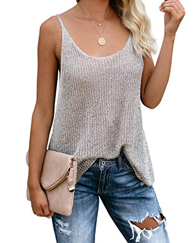 Women Oversize Scoop Neck Pullover Sleeveless Knit Shirts Tunic Tops Hot Summer Color Block Loose Strappy Vest