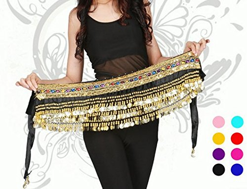 [Orino™ Women Belly Dance Dancing Hip Scarf Wrap Costumes Golden 248 Coins Belt Velvet Skirt with Two Gold Lines] (Scarf Coin Belly Dance Costumes)