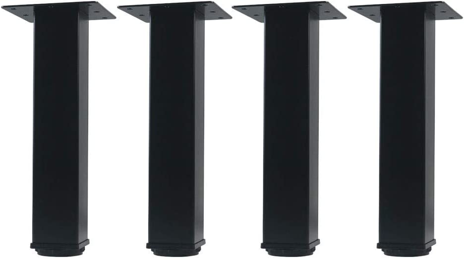 QLLY 8 inch Adjustable Metal Furniture Legs, Square Office Table Furniture Leg, Set of 4 (Black)