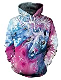 ENLACHIC Women Girls 3D Unicorn Printed Pullover Hoodies Hooded Sweatshirts for Birthday Gift,L