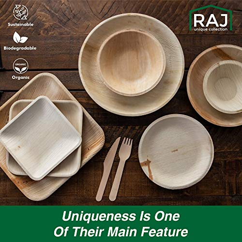 Raj Disposable Palm Leaf Plates [150-Pack] 50 x 7