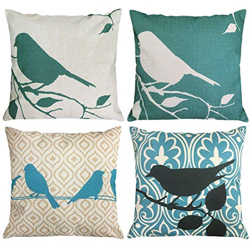NYKKOLA Shadow Bird Tree Branches Silhouette Linen Throw Pillow Covers Pack of 4, Decorative Pillowcase Cushion Cover for Sofa Bedroom Car 18 x 18 Inch 45 x 45 cm (Style 09)]()