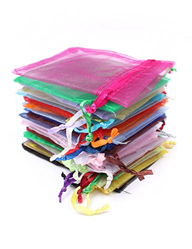 4 200k Color (Pack of 200 Organza Drawstring Bags Party Favor Bags Jewelry Bags 4x6 Inch Mixed Color)