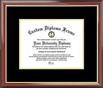 Laminated Visuals Plain Mat College University Black Gold Mats Mahogany Gold Trim Diploma Frame